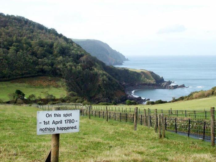 On this day 1st April 1780 On This Spot, On This Day, at Lee Bay in Devon, nothing happened.